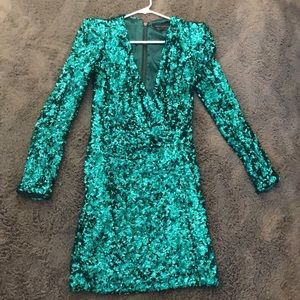 French Connection Green Sequin Dress